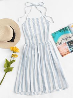 Striped Pleated Back Halter Dress - Summer Dresses Prom Dresses With Sleeves, Modest Dresses, Trendy Dresses, Cute Dresses, Casual Dresses, Halter Dresses, Modest Clothing, Party Dresses, Halter Dress Summer