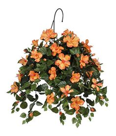House of Silk Flowers Artificial Hibiscus Hanging Basket Sunset Orange ** This is an Amazon Affiliate link. Click image for more details.