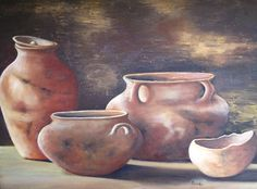 pinturas de vasijas y cacharros - Buscar con Google Acrylic Canvas, Oil Painting On Canvas, Painting & Drawing, Hyper Realistic Paintings, Realistic Drawings, Painting Still Life, Still Life Art, Vases, Watercolor Video