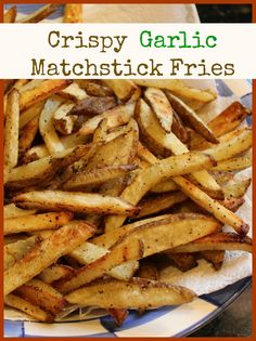 The Crispy Garlic Matchstick Fries are amazingly crisp and so full of flavor. Hot from the oven, just the smell of the crisp potatoes with garlic will start your mouth watering! Get the recipe and whip up a delicious batch of these today!