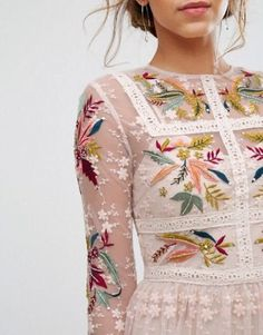 Frock & Frill Floral Embroidered Skater Mini Dress With Lace Trim Blush-Polyamide Lace Dresses-Frock and Frill Dresses Clearance Frock And Frill, Frill Dress, Look Fashion, Fashion Beauty, Womens Fashion, Trendy Fashion, Korean Fashion, High Fashion, Fashion Ideas