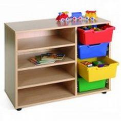 Mueble escolar bajo cubetero y estantería