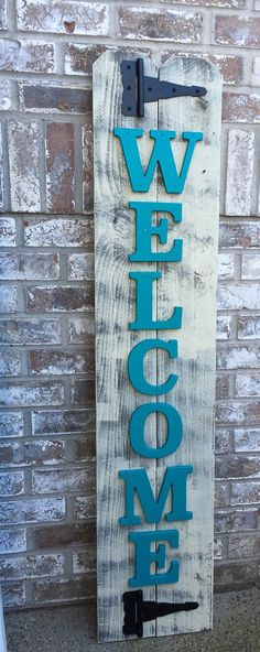 Front Porch Teal Wood Sign Front Porch Welcome от RedRoanSigns