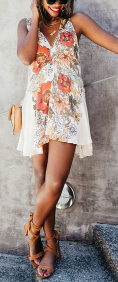 floral sundress + lace up heels -- an easy, yet stylish date night outfit for summer!