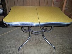 Vintage Rare Deco Yellow Formica Top Kitchen Table Early 1950u0027s