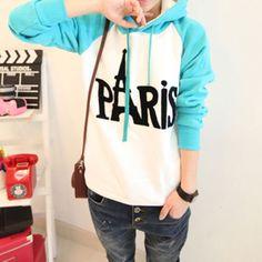$27.99 [grxjy560403]Cute Sweet PARIS Mixing Color Hood Sweatshirt