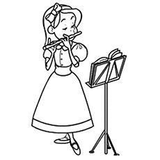 Girl Playing Flute Colouring Pages Music Coloring Kindergarten