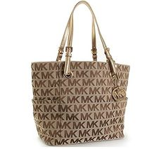 Michael Kors Signature / Monogram Jet Set Tote Bag; Side Pockets  Beige / Ebony / Gold