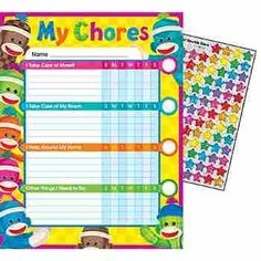 """Sock Monkey Chore Chart, Open-ended subjects make it easy to customize a Sock Monkey Chore Chart for every child. Each pack includes Sparkle Stickers to celebrate success. 25 charts; 8 1/2"""" x 11"""" each. 100 Sparkle Stickers Coordinates with Sock Monkeys Collection."""
