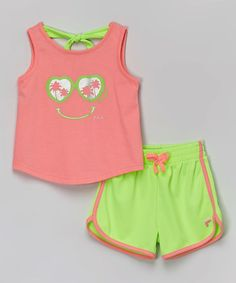 Look what I found on #zulily! Pink & Green Tank & Shorts - Toddler by FILA #zulilyfinds