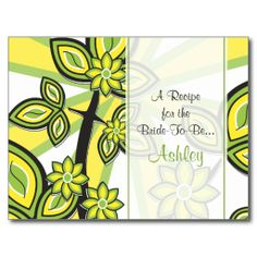 Bold Yellow Green Floral Recipe Card for the Bride Post Card
