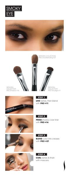 Beauty How To: Smoky Eye by Sephora All Things Beauty, Beauty Make Up, My Beauty, Beauty Secrets, Beauty Hacks, Hair Beauty, Beauty Tips, Love Makeup, Makeup Tips