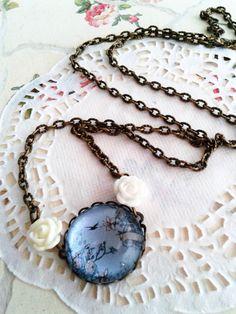 Kék üveglencsés nyaklánc Vintage jewerly with white rose (vintage, jewerly, fashion, necklace,Spring, DIY)