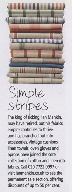 Ian Mankin ticking stripe fabrics