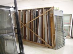 Gently used windows for sale at a habitat for Humanity Re-Store.