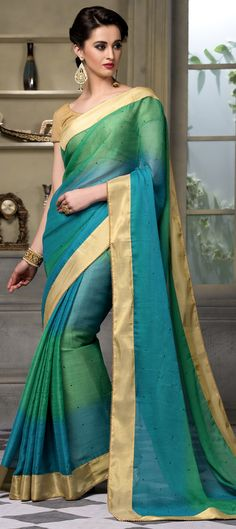 735653 Blue, Green color family Party Wear Sarees in Faux Chiffon fabric with Lace, Stone work with matching unstitched blouse.