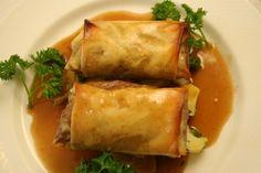 Crujiente de ternera, cebolla y pimiento