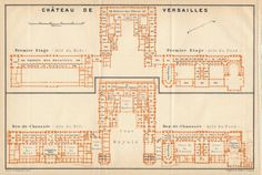1910 Antique Map of Chateau De Versailles Paris France by Figure10