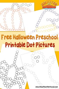 Free Halloween Preschool Printable Dot Pictures It's almost time for Halloween. Around here that is a big deal. We have already started doing Halloween related activities which I will be shar… Halloween Week, Theme Halloween, Halloween Activities, Halloween Ideas, Preschool Halloween Crafts, Halloween Math, Daycare Crafts, Daycare Ideas, Fall Preschool