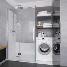 Konvert solución a medida para tu espacio de ducha Profiltek Laundry Bathroom Combo, Tiny Laundry Rooms, Laundry Room Design, Bathroom Design Small, Bathroom Colors, Bathroom Interior Design, Apartment Interior, Apartment Design, Home Interior