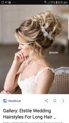 Curly Wedding Updo, Bridal Hairdo, Long Hair Wedding Styles, Wedding Hairstyles For Long Hair, Wedding Hair And Makeup, Bride Hairstyles, Wedding Hair Accessories, Long Hair Styles, Bridal Hair Tutorial