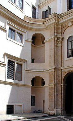 Oratorio dei Filippini 1637 Roma - Borromini risolve alla radice il classico problema dell'angolo, che fin dal rinascimento veniva riempito con decorazioni murarie, eliminando fisicamente l'angolo.