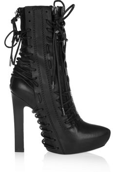 If these boots weren't absolutely made for our Victoria. Haider Ackermann Lace-up leather ankle boots. Hot High Heels, High Heel Boots, Bootie Boots, Heeled Boots, Ugg Boots, Stilettos, Pumps, Galaxy Converse, Mode Shoes