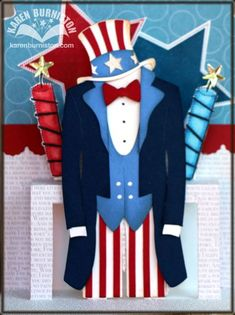 Stampin' Up! Dress Form and Pop 'n Cuts Die Uncle Sam Template by Karen Burniston
