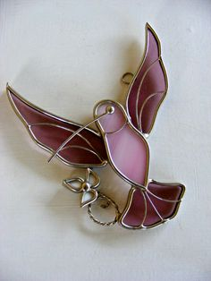 Vintage Stained Glass Hummingbird with Flower by MultiPolarity, $10.00