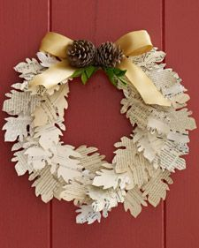 paper leaf wreath  The tutorial is here:  http://www.marthastewart.com/article/paper-leaf-wreath