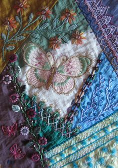 "Crazy quilting / Embroidery . . .  Front book cover- ""Gorgeous stitching on this stunning work"" ~By Margreet from Holland"