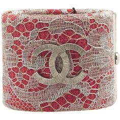 Pre-Owned Chanel A85114 Pink & Silver Lace Cuff Bracelet ($690) ❤ liked on Polyvore featuring jewelry, bracelets, pink, pink jewelry, chanel bangles, chanel jewelry, tri color bangles and bangle cuff bracelet