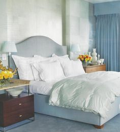 A sea of blue in a bedroom is very calming