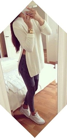 White Long Sleeve Scoop Neck Slit Side Pullover Knit Tunic Sweater