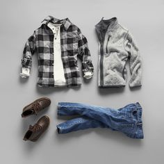 Boys' fashion   Kids' clothes   Back-to-school   Plaid oxford shirt   Henley top   Sweater jacket   Boots   Jeans   The Children's Place