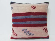 20x20 kilim pillow 20x20 blue red white by DECOLICKILIMPILLOWS