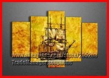 Framed 5 Panel Crafts Large Boat Oil Painting on Canvas Art Gold Wall Picture Quadro Home Decoration XD00133(Hong Kong)