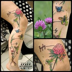 #clover #flower #butterfly #azure #blue #watercolor #botanical #tattoo done by #ZeldaBlackJeanjacques