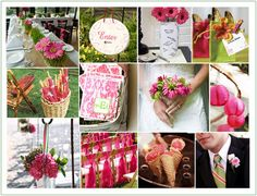 Pink and Green Wedding - This color combo is perfect for spring and summer weddings. Incorporate fresh florals for a truly exotic look and feel.