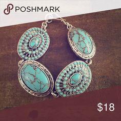 Turquoise Silvertone Chunky Statement Bracelet Gently Preloved Jewelry Bracelets