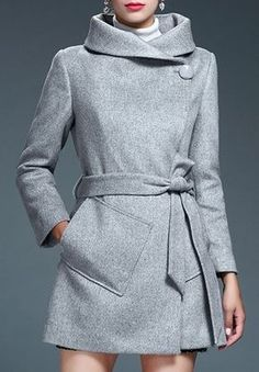 70f1bb539f Stylish Turn-Down Neck Long Sleeves Pure Color Pocket Design Women s Coat