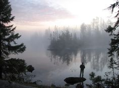 Foggy Morning Campsite outside of Ely, Minnesota. Wilderness Campsites.