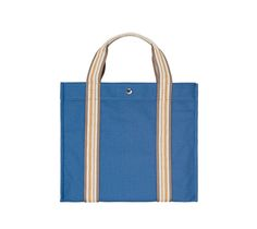 """Escale Hermes beach bag (PM size) 100% cotton canvas in azure blue.<br />Measures 13.4"""" x 15.4"""" x 5.5"""""""