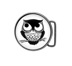 Belt buckle Retro Owl Antiqued Silver by UniqueArtPendants on Etsy