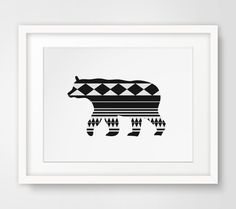 Black Aztec Bear Print, Tribal Bear Art, Black and White Aztec Print, Geometric Bear Wall Art, Geometric Bear Print, Black Aztec Home Decor by MelindaWoodDesigns on Etsy https://www.etsy.com/listing/184439861/black-aztec-bear-print-tribal-bear-art