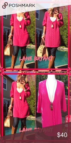 💋Lane💋 Lane Bryant fabulous hot pink long sweater, so chic & stylish with jeans all fall long!. everyone know I love long and I love this. Looks so pretty on..such a fun color!. Good to new condition! Lane Bryant Sweaters