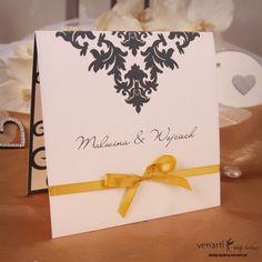 Zaproszenia ślubne - Czarny wzorek ze wstążką