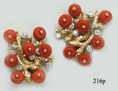 Coral Bead, Diamond and Gold Branch Earrings by Julius Cohen at Nelson Rarities,Inc. Portland, Maine