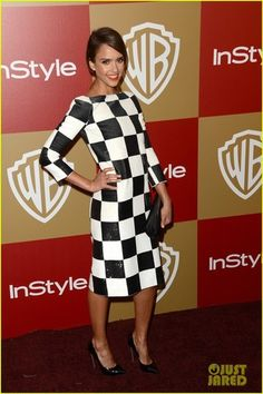 Jessica Alba - modest black and white checkers - 2013 Golden Globes