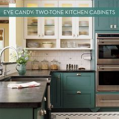 Eye Candy: Beautiful Two-Tone Kitchen Cabinets ~ Sam Best Food Recipes and Kitchen Design Ideas Teal Cabinets, Two Tone Kitchen Cabinets, Kitchen Cabinet Colors, Painting Kitchen Cabinets, Kitchen Paint, Kitchen Colors, Kitchen Countertops, Wood Cabinets, Upper Cabinets